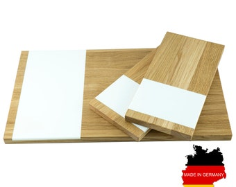 Chopping Board 3 set large and small | Bread Cutting Board | Kitchen board-Oak wood, white acrylic stone, 50 x 30 x 2 and 30 x 15 x 2 cm