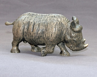 "Rhino Bronze Rhinoceros ""Baby Rhinoceros"" Figurine Statue Sculpture Art / Limited Edition / Signed & Numbered"