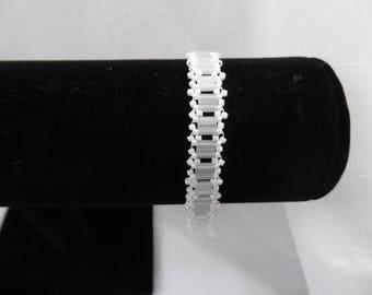 White Tila Bead Anklet - Adjustable