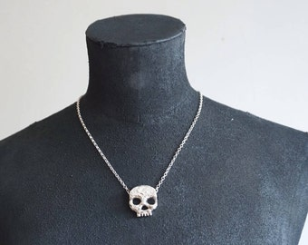 Unique one of a kind Phantom skull rabbit bone detail necklace in sterling silver