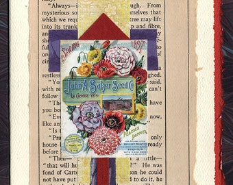 Poppies Friendship Thinking of You Original Collage Card