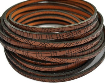 "5MM Flat Cognac/Black Geometric Print Leather Cord - 1M/39.4""  - High quality European leather"