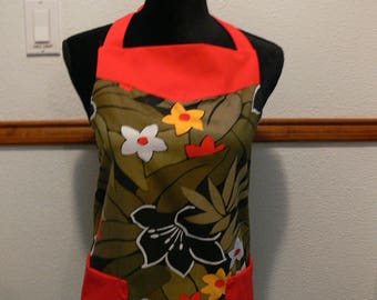 Womens's Full Apron, Retro Inspired, Cute Apron, Size Medium