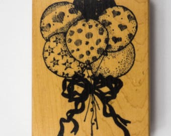 Wooden Mounted Rubber Stamp Birthday Party Balloons