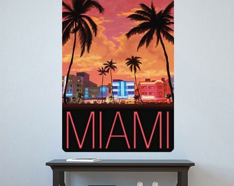 Miami Florida City Sunset Wall Decal - #60853