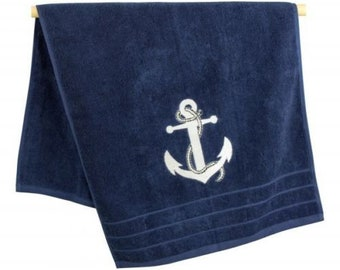 Fluffy bath/shower towel-Sauna towel cotton-maritim-150 cm-navy blue *
