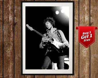 Jimi Hendrix Vintage Poster - Concert Photo , Great Guitarist , Black White Rock Music Print, Hendrix Poster, Hendrix Art