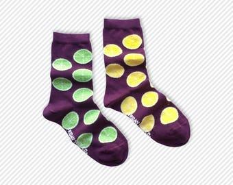 Womens Socks | Lemon| Lime | Mismatched socks | Cool socks | Funky Socks | Pink socks | Mismatched | Fun socks | Odd socks