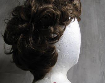 Vintage Women's Brown Curley Hair Wig - Dynel Brand
