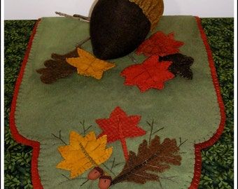 Autumn Leaves Wool Table Topper Runner and Centerpiece Pattern with Free US Shipping and Pine Cone Buttons Included