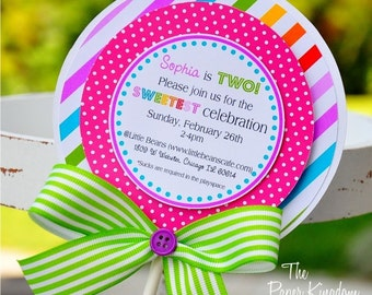 Lollipop  Invitations, Candyland Lollipop Invitations, Candyland Birthday Party -Set of 10