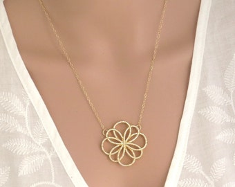 Gold flower necklace with cubic zirkonia stones necklace , gold flower pendant , gold filled flower necklace , CZ gold necklace