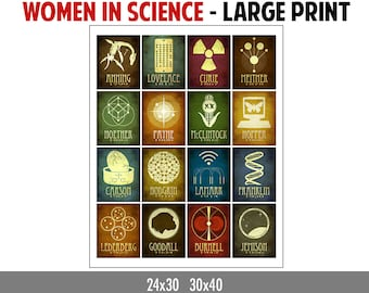 Women In Science Poster, Science Art, Teacher Gift, Chemistry Student Gift, Geek Gift, Biology Gift, Physics Gift for Her, Science Gift