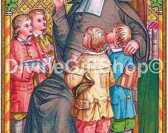 """Icon St John Baptist de la Salle . 5"""" X 7"""" Print. Gorgeous. Patron Saint of Teachers."""