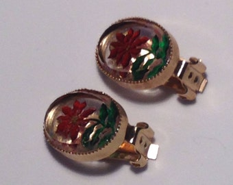 Vintage Lucite Clip Earrings with Red Flowers