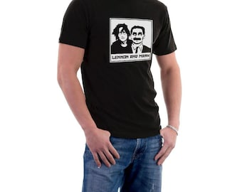 Lennon and Marx John & Groucho T-shirt. 3XL 4XL 5XL Music Movies Funny Cotton Tee.