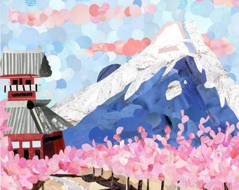 Cherry Blossom in Japan Magazine Collage