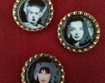 Women of Horror, Bride of Frankenstein, Elvira, Morticia set of 3, pins or Magnets