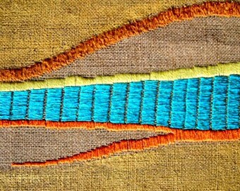 OOAK Wall Hanging Tapestry fiber wall art Embroidery by nerina52 Fiber art Wall Tapestry Wall decor Abstract art Tuscany Landscape Gold hill