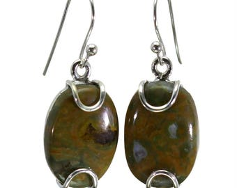 Rhyolite Earrings, 925 Sterling Silver, Unique only 1 piece available! color multicolour, weight 5.2g, #29110