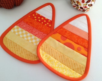 Candy Corn Quilted Candle Mat, Coffee Mat, Mug Rug, Set of Two, Halloween Decor, Table Setting