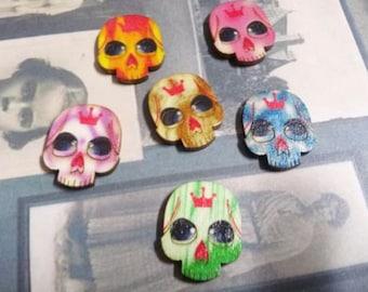 Skull Cabochons Wood Cabochons Sugar Skull Calavera Flat Back Cabochons Flatbacks Sugar Skulls Assorted Cabochons CLEARANCE was 2.33