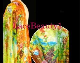 Yellow silk chiffon with printing flowers soft chiffon venice chiffon floral chiffon fabric apparel chiffon dress chiffon vintage chiffon