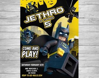 Lego batman invite Etsy