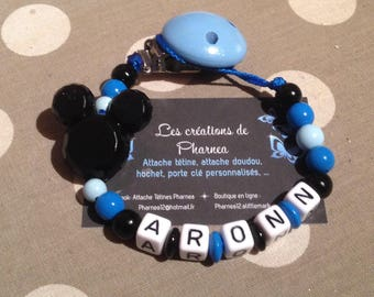 Pacifier clip personalized with name dark blue black Mickey head lollipop