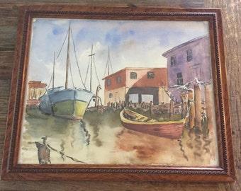 Vintage Original Watercolor Boat Painting Framed   Sailboat Painting   Watercolor Boats   Boat Painting   Nautical Painting   Ship  Painting