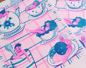 Tea Time - Riso print