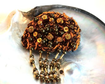Jellyfish embroidered bronze and gold brooch