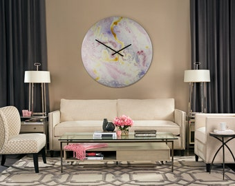 Art With Lighting Large Wall Clock Modern Lighting Large Circular Art Large Clock Glass Clock Wall Clocks with Lighting Astronomy Art Space