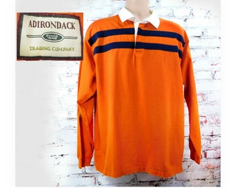 orange Polo shirt -Rugby shirt men -90's knit shirt men -orange knit shirt, collared knit shirt, long sleeve shirt , size L (large),   # 78