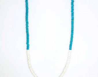 """Turquoise & white beaded necklace measures 35."""""""