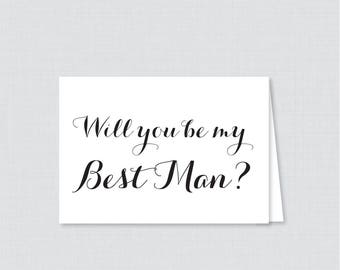 Printable Will You Be My Best Man Cards - Black and White Will You Be My Best Man Card, Best Man Proposal Card with Calligraphy - 0005