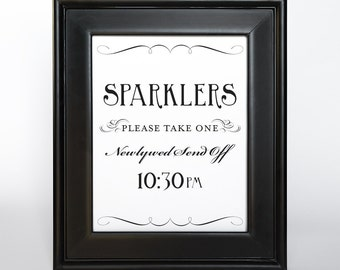 Sparkler Send Off Vertical Sign Printable 10:30pm DIY Digital File PDF Favor Signage Wedding Do it Yourself Fancy