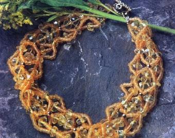 Citrine Woven Bead Bracelet