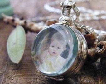 sterling silver handcrafted round glass locket pendant, two sided photo locket round glass locket sterling silver heirloom keepsake