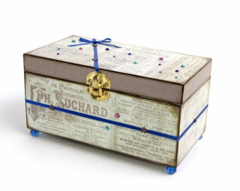 Jewelry Box Vintage Advertising French Ad Words Decoupaged Decorated Box Keepsake Box Trinket Box Mixed Media Box Mothers Day Gift for Mom