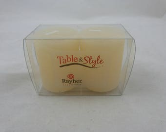 Set of two beige candle frosted