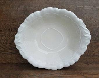 Vintage White Ceramic Bowl- Large Bowl- Decorative Bowl- Fruit Bowl- Farmhouse Decor- Shabby Chic- Home Decor- Kitchen & Dining Room Decor