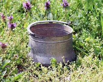 Antique copper pot, Vintage copper cauldron, Small hand hammered pot, Primitive cooking pot, Jam pan, Ancient, Ranch decor