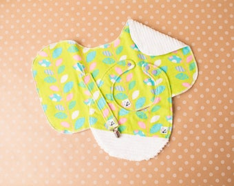 Colorful Baby girl Gift set Newborn Baby shower Bib Paciclip Burp cloth Easter Polka dot Little Tommys Flannel Chenille Soft Absorbent