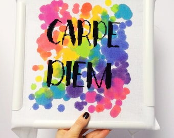 Carpe Diem | Modern Cross Stitch Kit, DIY Embroidery Kit, Needlepoint Kit, Neon Stitch Kit, DIY Wall Art, Typography Wall Art, Crafty Gift