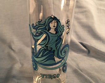 Virgo Zodiac Psychedelic Beverly Blue Horoscope Astrology Arby's Roast Beef Giveaway Glass Vintage 1976