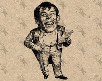 Vintage image Midget Man Circus show Instant Download Digital printable clipart graphic iron on transfer burlap t-shirt decor HQ 300dpi
