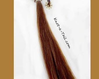 Rawhide trimmed, Horsehair tassel, shoo fly tassel, shu fly tassel, horsehair tassel, RAWHIDE Knot  Shoo Fly, Brown-white, horsehair tassel