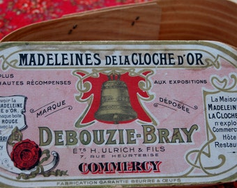 Stunning Rare Antique French Madeleines de La Cloche D'or Wooden Storage Box-Vintage French Publicity,Advertising