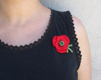 Crochet poppy brooch, cotton poppy pin, red flower brooch, spring lovers gift, romantic retro gift for her, vegan jewelry, mother's day gift